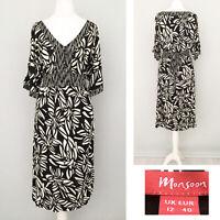 Monsoon Dress 12 Black White Short Sleeve Jersey Midi Print Stretch Tie Back