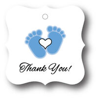 24 Blue Baby Boy Feet With Heart Thank You! Baby Shower Favor Tag