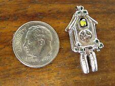 Vintage silver ANTIQUE MOVABLE BIRD GERMAN CUCKOO CLOCK ENAMEL BRACELET charm