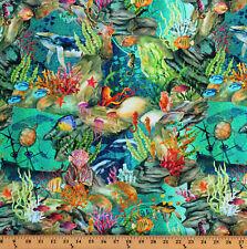 Cotton Coral Reef Fish Aquatic Nautical Digital Calypso Fabric Print BTY D501.34