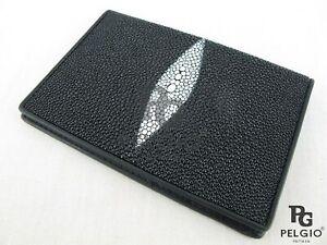 PELGIO Genuine Stingray Skin Leather Passport Bording Pass Holder Wallet Black