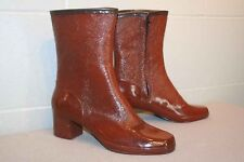 "Fits 7 N Vtg 1960s Nos Rust Brown 11"" Tall Rubber Waterproof 60s Rain Boot Shoe"