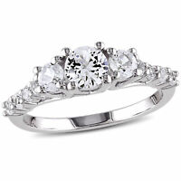 Amour Sterling Silver Created White Sapphire 3-stone Ring