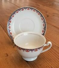 NATIONAL CHINA Tea Cup and Saucer White Blue Orange Floral Made in Japan Worn