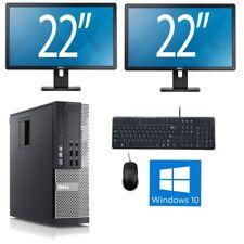 """Fast Dell 990 + dual 22"""" monitor Quad Core i5 128Gb SSD 8Gb Windows 10 Deskop PC"""