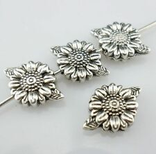 16pcs Sunflower Flower Antique Silver Spacer Beads Jewelry Findings 8*13mm