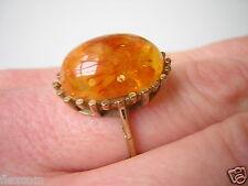 Zarter Sonnenflinten Honig Bernstein Ring 333/8 K Gold 2,9 g/17,2 mm Amber
