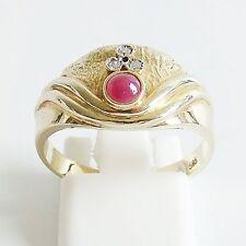 Ring Gold 585er Rubin Brillant Goldringe 14 kt. cabochon Diamant Goldschmuck