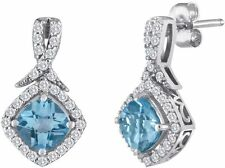 Genuine Blue Topaz And Creat.... White Sapphire Sterling Silver Earrings