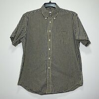 Brooks Brothers Mens Button Down Short Sleeve Shirt Large Yellow Check 346