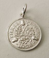 SOLID 925 STERLING SILVER UK 1928 THREE PENCE COIN Charm/Pendant
