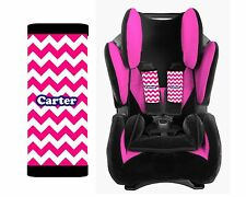 Personalized Baby Toddler Car Seat Strap Covers Hot Pink Chevron Navy Blue