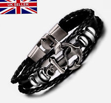 UK Men Anchor Leather Beach Braided Black Bracelet for Guys Male Bangle Jewelry