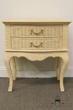 LINEAGE Cream Off-White Wicker Two Drawer Nightstand