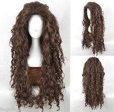 Harry Potter Bellatrix scroll small brown wavy hair cosplay wig AAA