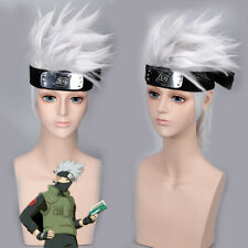 Anime Naruto Kakashi Wig Short Silver Hair Halloween Cosplay Costumes Hairpiece