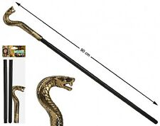 Mens Gold Snake Serpent Cobra Head Cane Staff Stick Egyptian Fancy Dress Costume