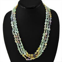 TOP CLASS 315.00 CTS NATURAL 3 LINE RICH MULTICOLOR FLOURITE BEADS NECKLACE
