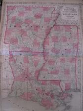 Hand Colored Map Johnson's Atlas Arkansas Mississippi Louisiana New Orleans 1863
