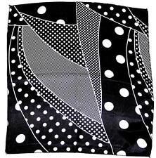SCARF Small Square Black & White BIG & SMALL POLKA DOTS ABSTRACT