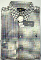 NEW $89 Polo Ralph Lauren Classic Fit Long Sleeve Shirt Mens Blue Ivory Plaid