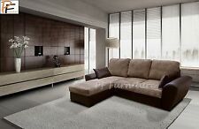 GIANNI - GIANI - CORNER SOFA BED - BROWN - COBRA FAUX LEATHER & CORD