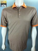 Mens Jeff Rose Italy Large S/S Mini Checked Orange Aegean Blue Cotton Polo Shirt