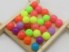 100 Mixed Neon Color Acrylic Round Beads 10mm Smooth Ball Spacer Beads