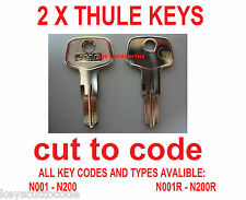 X2 Thule and  Halfords  Roof Box, bar & rack Keys Cut to Code - 2 off