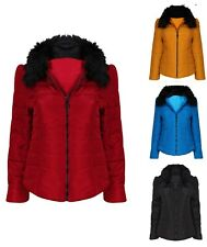 WOMENS LADIES QUILTED WINTER COAT PUFFER FUR COLLAR JACKET PARKA JACKET