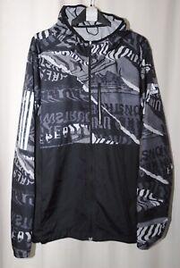 Adidas Running Men's Black White Grey Hooded Jacket Size L
