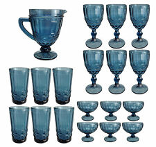 Vintage Copa de Vino Cristal Lazo Helado Vaso Agua Wasserkug, Azul