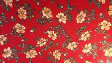1950s Scarlet Floral Fabric 4 yards x 44 inches