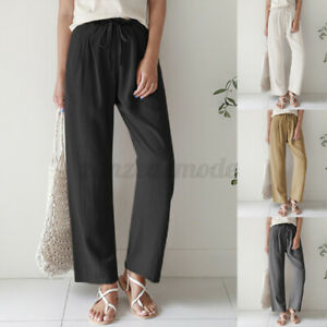 Women Casual Loose Palazzo Wide Leg Long Trousers Ladies Beach Holiday Pants NEW