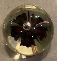 "Glass Eye Studio ""GES 99"" Art Glass Blooming Flower Paperweight"