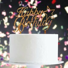 Gold Glitter Happy Birthday With Star Cake Topper x1 Baking Pick Decoration