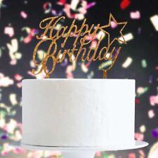 Brillo Del Oro Feliz Cumpleaños Con Estrella Cake Topper x1 Hornear Decoración de Pick