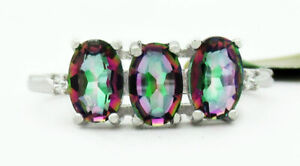 GEMSTONE 1.64 Cts MYSTIC TOPAZ & WHITE SAPPHIRES RING .925 SILVER NWT #6
