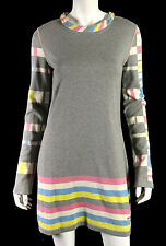 CHANEL 08P Gray & Multi-Color Striped Cotton Cashmere Sweater Dress 40