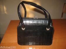Vintage Black Patent Leather Crocodile Alligator Pattern Kelly Handbag Purse