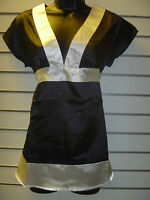 Top Size Small Silky Black White Blouse Empire waist Low V Neckline Tunic NWT 71