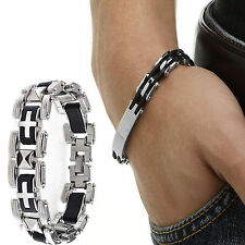 Men's Silver Stainless Steel Black Rubber Bangle Bracelet Cuff Wristband Newly