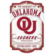 "OKLAHOMA SOONERS ESTABLISHED 1890 VAULT WOOD SIGN 11""X17'' BRAND NEW WINCRAFT"