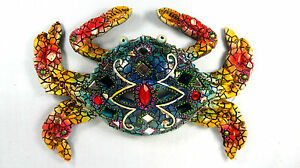 Bay Blue Crab Wall Art with Mirrors & Jewels Home Decor