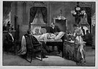 WHITE HOUSE, PRESIDENT GARFIELD DEATHBED ANTIQUE PRINT