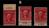 1903 Washington Sc 319 MHR lot of 3 plate number singles, Hebert CV $22.50 each