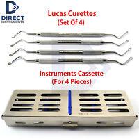Set Of 4 Lucas Bone Curettes Periodontal Extraction Dental Instruments +Cassette