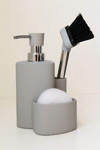 Ceramic Washing Liquid Dispenser Sponge Scrubby Dish Brush Caddy Sink Organizer