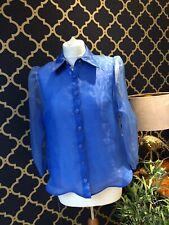 ZARA Blue Organza Blouse With Puff Sleeves Semi Sheer SMALL BNWT