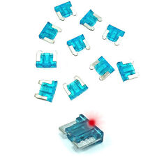 15A Blue LED LOW PROFILE MINI Blade Fuse Car Auto Glow Blow 15 Amp - Pack of 10